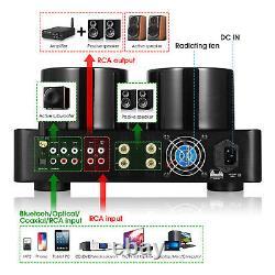 HiFi Bluetooth 5.0 Tube Power Amplifier COAX/OPT Integrated Audio Amp USB Player